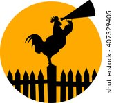 crowing rooster on a fence | Shutterstock .eps vector #407329405