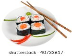 party tray of sushi and rolls... | Shutterstock . vector #40733617