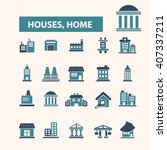houses  home icons  | Shutterstock .eps vector #407337211