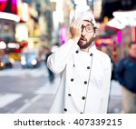 crazy chef worried expression   Shutterstock . vector #407339215