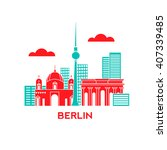 berlin city architecture retro... | Shutterstock .eps vector #407339485