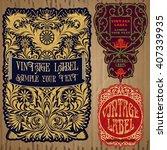vector vintage items  label art ... | Shutterstock .eps vector #407339935