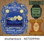 vector vintage items  label art ... | Shutterstock .eps vector #407339944