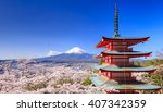 Mt. Fuji With Chureito Pagoda...