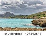 rocky beach with beautiful...   Shutterstock . vector #407343649