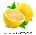 lemons isolated on the white... | Shutterstock . vector #407345395