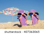 funny couple of flip flops with ... | Shutterstock . vector #407363065