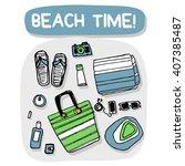 beach accessories outdoor...   Shutterstock .eps vector #407385487