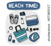 beach accessories outdoor...   Shutterstock .eps vector #407385517