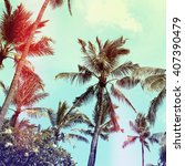 palm trees  vintage effect | Shutterstock . vector #407390479