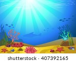 vector illustration of a seabed ... | Shutterstock .eps vector #407392165