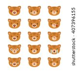 set of cat emoticons icons ... | Shutterstock .eps vector #407396155