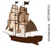 brown silhouette of sailing... | Shutterstock .eps vector #407399011