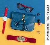 Small photo of Ladies Vintage Accessory Set. Glasses, Belt, Bag, Watch. Fashion details