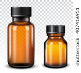 medicine bottle of brown glass... | Shutterstock .eps vector #407416951