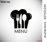 chef icon. chef hat silhouette... | Shutterstock .eps vector #407421244