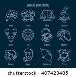 zodiac signs in thin line style ...
