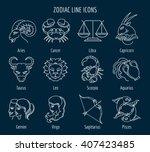 Zodiac Signs In Thin Line Styl...