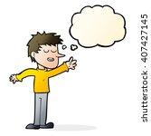 cartoon happy man reaching with ... | Shutterstock .eps vector #407427145