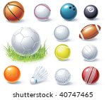 vector sport equipment icons | Shutterstock .eps vector #40747465