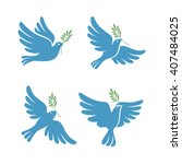 Flying Dove Vector Sketch Set....