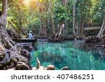 emerald pool is unseen pool in... | Shutterstock . vector #407486251