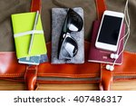 travel bag with passport phone... | Shutterstock . vector #407486317