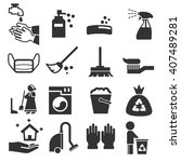 cleaning icons set | Shutterstock .eps vector #407489281