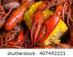 Boiled Crawfish And Corn On Th...