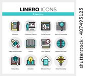 line icons set of e learning... | Shutterstock .eps vector #407495125