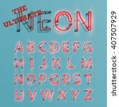 realistic neon character... | Shutterstock .eps vector #407507929
