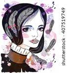 portrait of beautiful girl with ... | Shutterstock . vector #407519749
