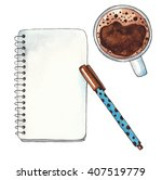 coffee cup  notebook and pen on ... | Shutterstock . vector #407519779