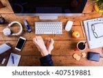 businessman working in his... | Shutterstock . vector #407519881