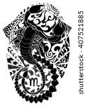 scorpio tattoo design ... | Shutterstock .eps vector #407521885