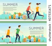 physical activity people... | Shutterstock .eps vector #407531671