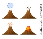 volcano icon set isolated on... | Shutterstock .eps vector #407552854