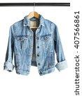 blue denim jacket hanging on... | Shutterstock . vector #407566861