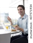 a man in a cafe or office... | Shutterstock . vector #407571934