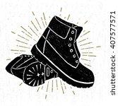 hand drawn textured boots... | Shutterstock .eps vector #407577571