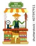 the friendly farmer sells... | Shutterstock .eps vector #407597911