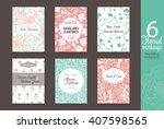 six vintage floral wedding ... | Shutterstock .eps vector #407598565