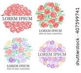 modern vector flower logotype.... | Shutterstock .eps vector #407599741