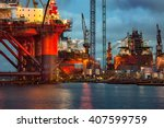 shipyard industry   oil rig... | Shutterstock . vector #407599759