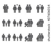 gay family icons set   Shutterstock .eps vector #407606014