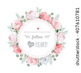 delicate wedding floral vector... | Shutterstock .eps vector #407610781