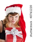 young woman holding a christmas gift isolated on white - stock photo