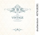 vintage template with monogram  ... | Shutterstock .eps vector #407618281