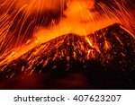 mount etna  produced fountains ... | Shutterstock . vector #407623207