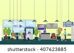 people in airport  flat set | Shutterstock .eps vector #407623885